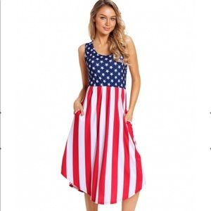 Dress with Pockets Red White and Blue